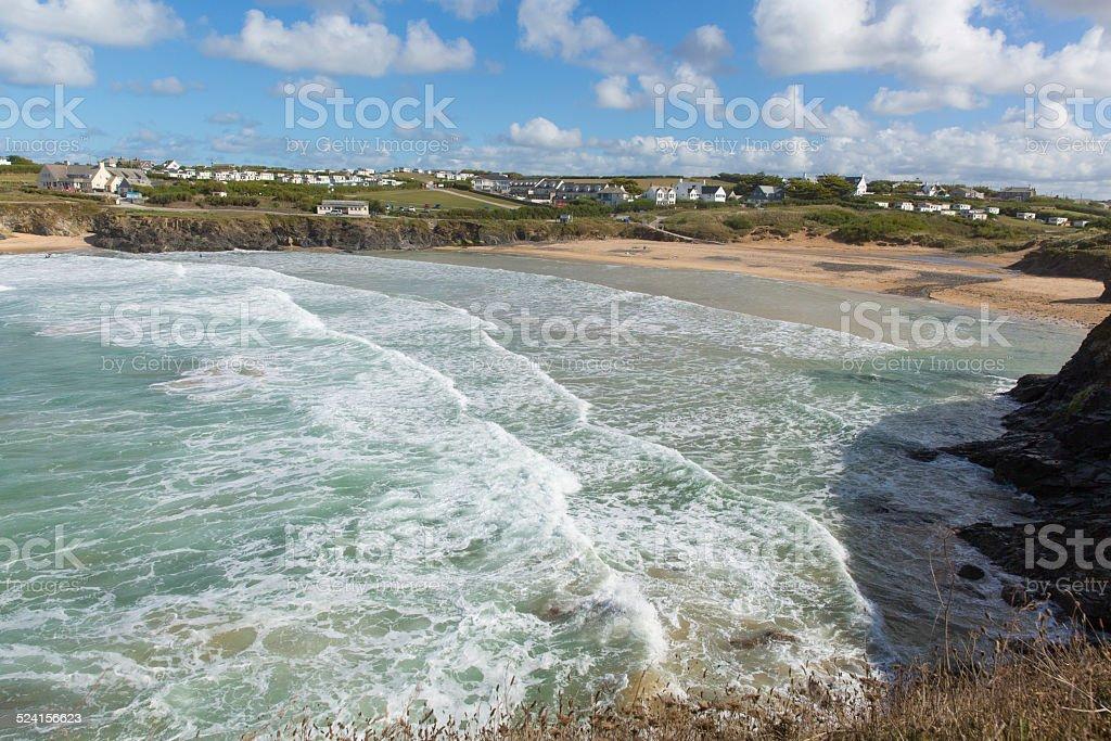 Treyarnon Bay Cornwall England UK Cornish north coast stock photo