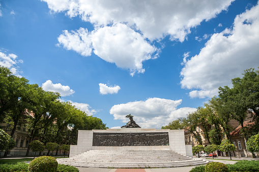 Picture of the communist monument of Trg Zrtava Fasizma , or Square of the victims of Fascism, a statue from the 1950s dedicated to people who died during the second world war and killed by the nazi forces.