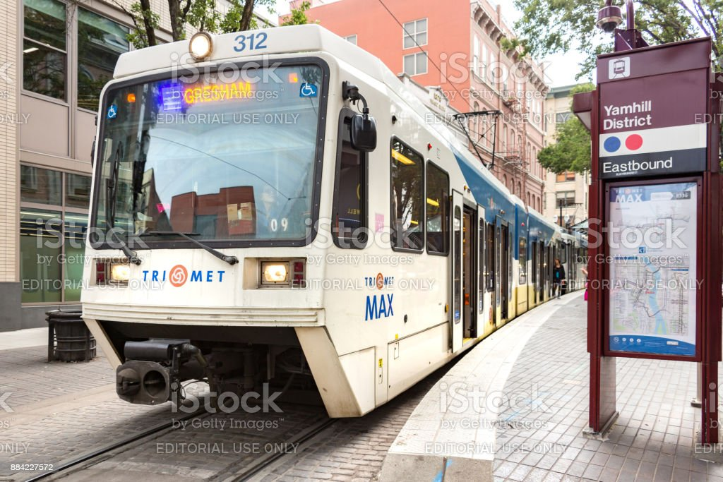 A Tri Met metro rail train. stock photo
