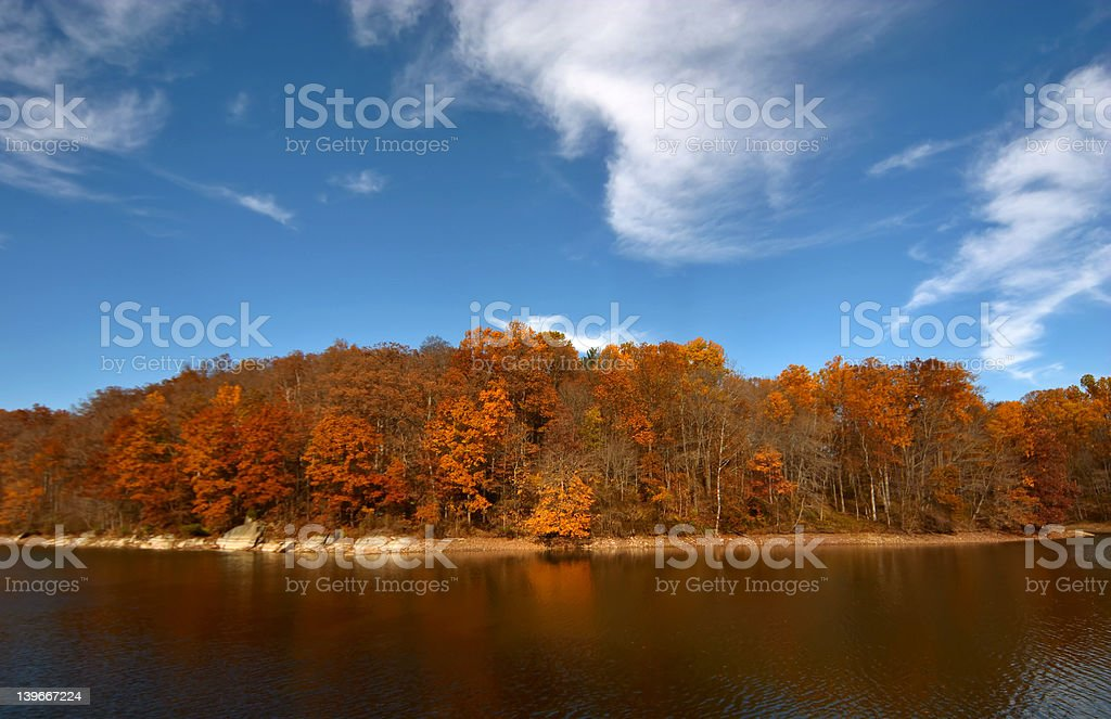 Triadelphia lake in autumn royalty-free stock photo