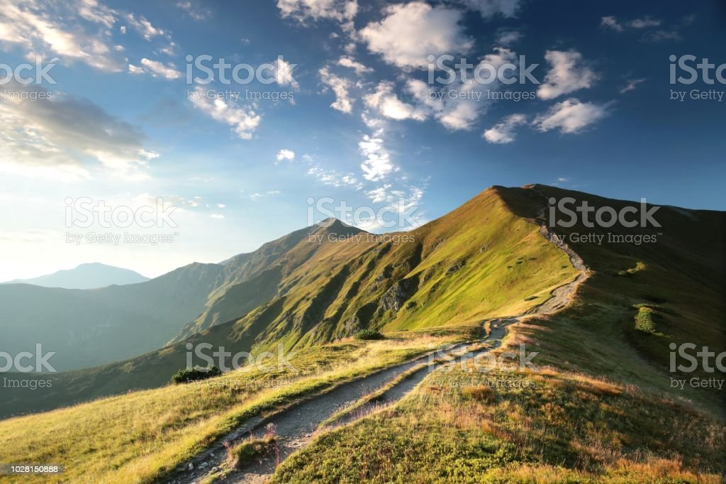 Trial to the peak in Tatra Mountains - Royalty-free Amanhecer Foto de stock
