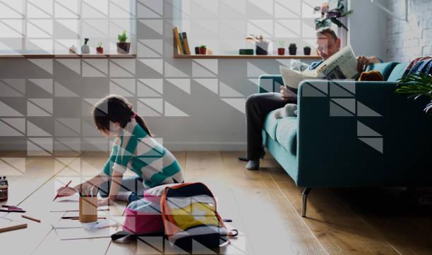 dreieck geometrische grafisches muster vorlage - basteln mit zeitungspapier stock-fotos und bilder