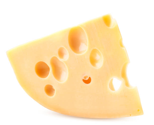 triangle of cheese with large holes on a white. maasdam cheese close-up. isolated - maasdam foto e immagini stock