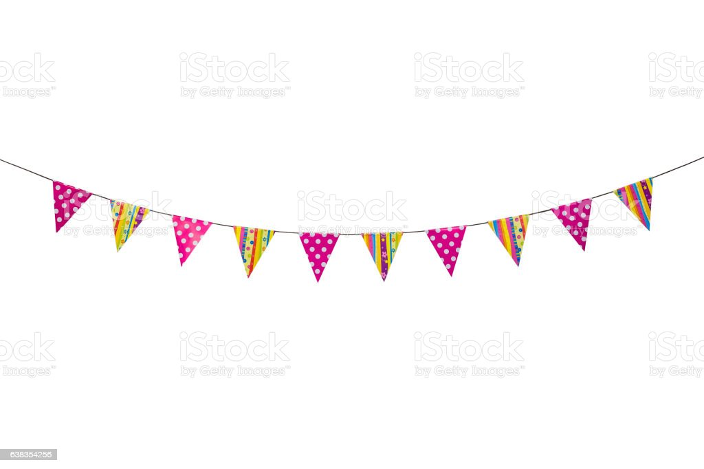 Triangle papers hanging on the rope.For decoration in house. - foto de stock