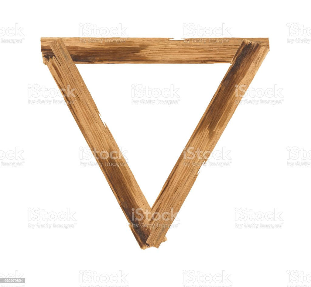 Dreieck-Bilderrahmen Plank Holz isoliert auf weißem Hintergrund - Lizenzfrei Abstrakt Stock-Foto