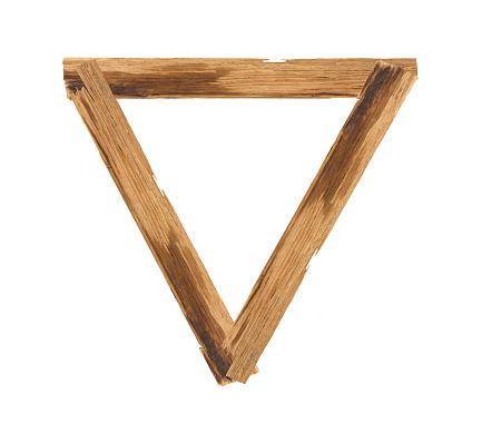 Driehoek Afbeeldingsframes Gemaakt Van Plank Hout Geïsoleerd Op Witte Achtergrond Stockfoto en meer beelden van Abstract