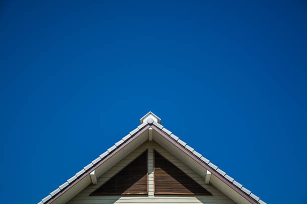 Triangle Roof is on the top of home acute angle stock pictures, royalty-free photos & images