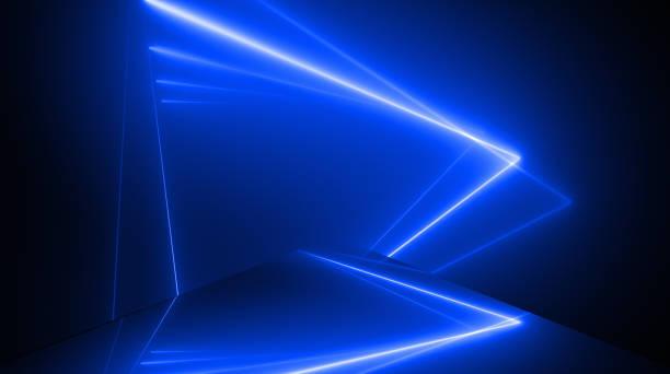 forme de triangle, tunnel de néon rougeoyant. contexte abstrait sans couture. lumière ultraviolette fluorescente. - élément graphique photos et images de collection