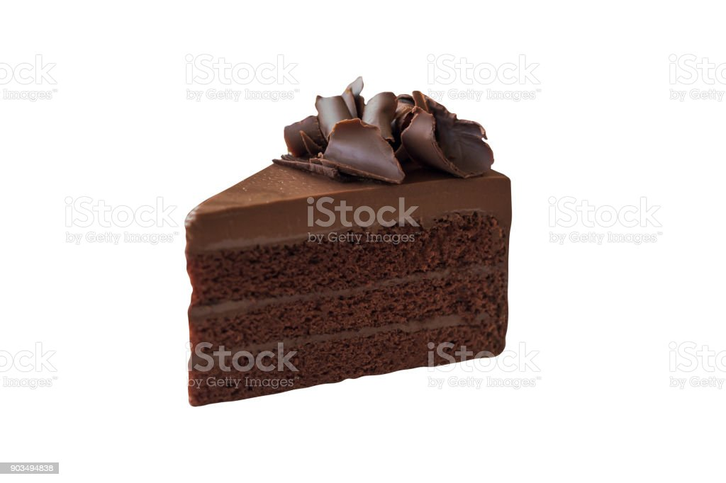 Triangle shape slice piece of chocolate fudge cake decorated with chocolate curl on white isolated and clipping paths. Delicious and soft, sweet and bitter. Homemade bakery concept. stock photo