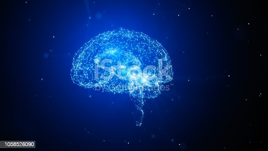 istock Triangle Shapes Lines And Dots Forming A Plexus Brain Object On Blue Background - Innovation Concept 1058526090