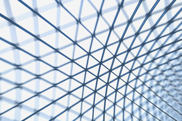 Triangle steel structure roof with blur effect stock photo