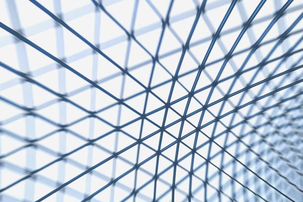 techo de estructura de acero de triángulo con efecto de desenfoque - característica arquitectónica fotografías e imágenes de stock