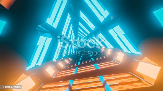 Digitally generated space. Triangle shape tunnel with blue and orange illuminations