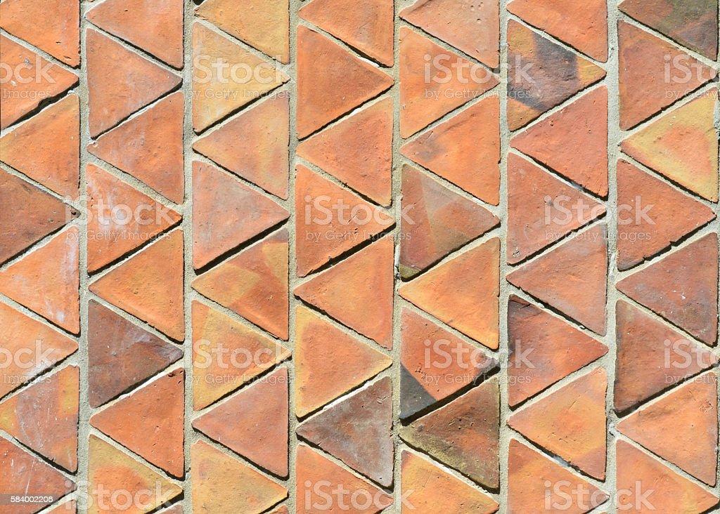 Triangular clay tile wall, terracotta stock photo