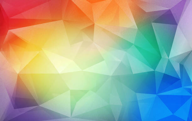 triangular colorful background - fractal stock photos and pictures