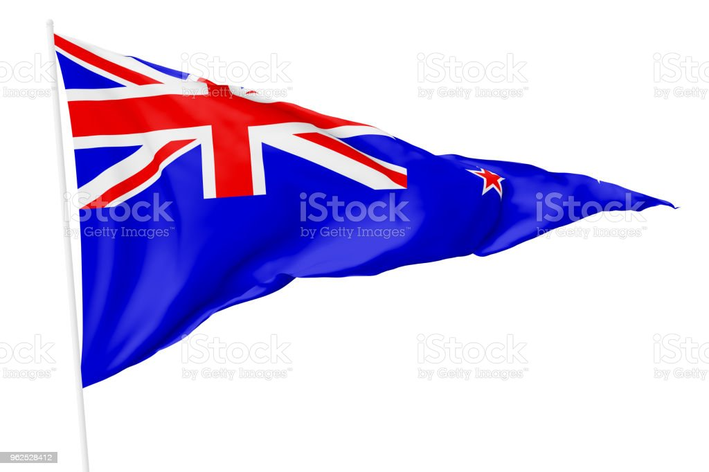 Triangular national flag of New Zealand - Royalty-free Banner - Sign Stock Photo