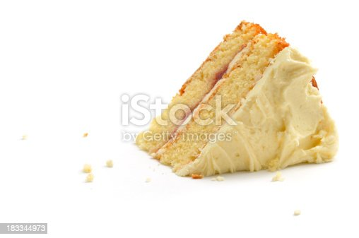 A slice of home-made victoria andwich sponge cake isolated on a white background.