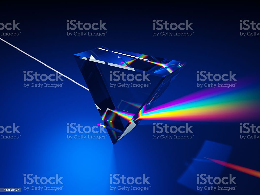 Triangular prism dispersing light stock photo