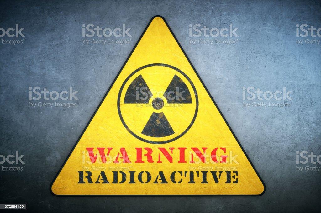 Triangular Radiation Warning Sign stock photo