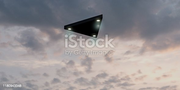 Triangular shaped ufo flying in the sky 3d illustration