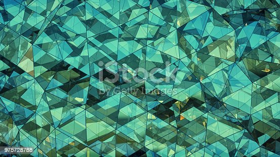 Triangulated multilayered turquoise glass construction. Futuristic polygonal surface. Abstract trendy background. 3D rendering