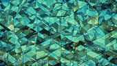 Triangulated multilayered turquoise glass construction abstract 3D rendering