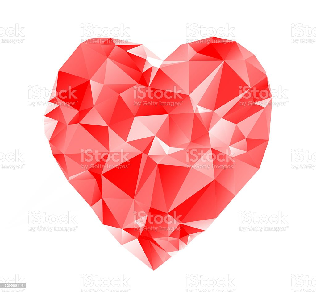 Triangulated red heart, low poly rendered design stock photo