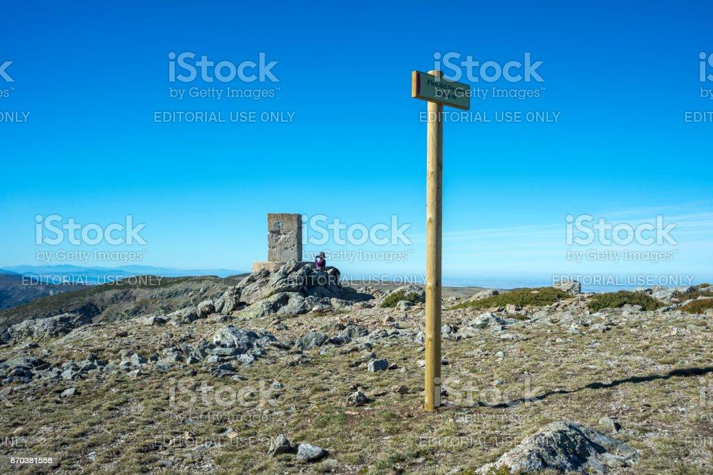 Triangulation pillar in the Pico del Nevero stock photo