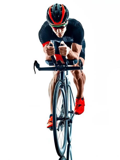 Triathlet Triathlon Radfahrer Radfahren Silhouette isoliert weißen Hintergrund – Foto