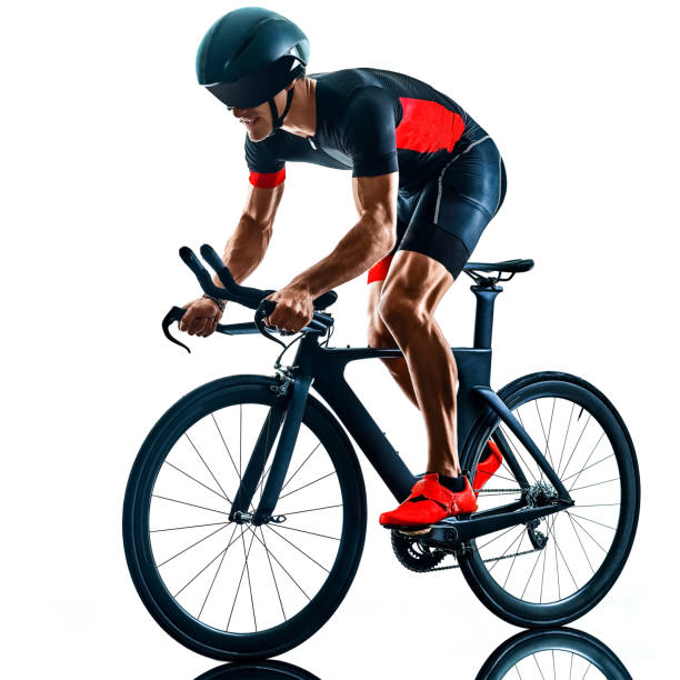 triathlete triathlon Cyclist cycling silhouette isolated white background stock photo