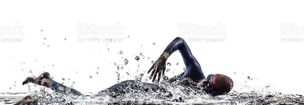 triathlon iron man athlete swimmers swimming stock photo
