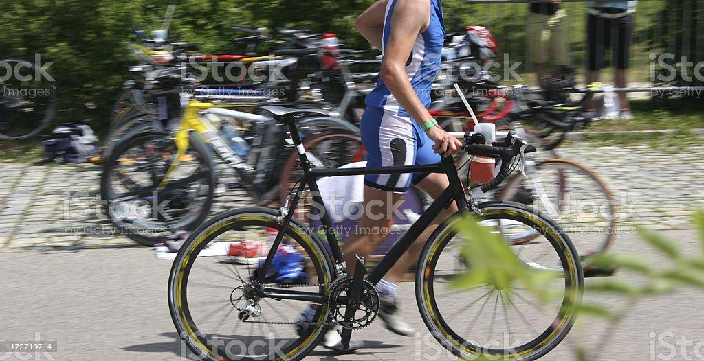 triathlon transition area royalty-free stock photo
