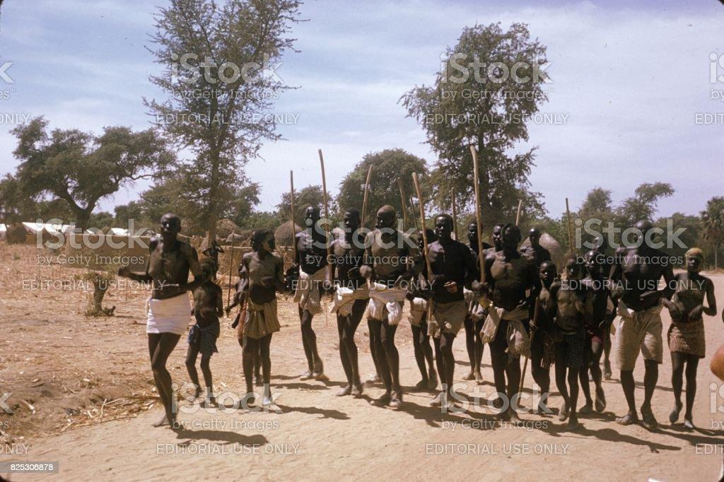 Tribal dance, Uganda, 1974 stock photo