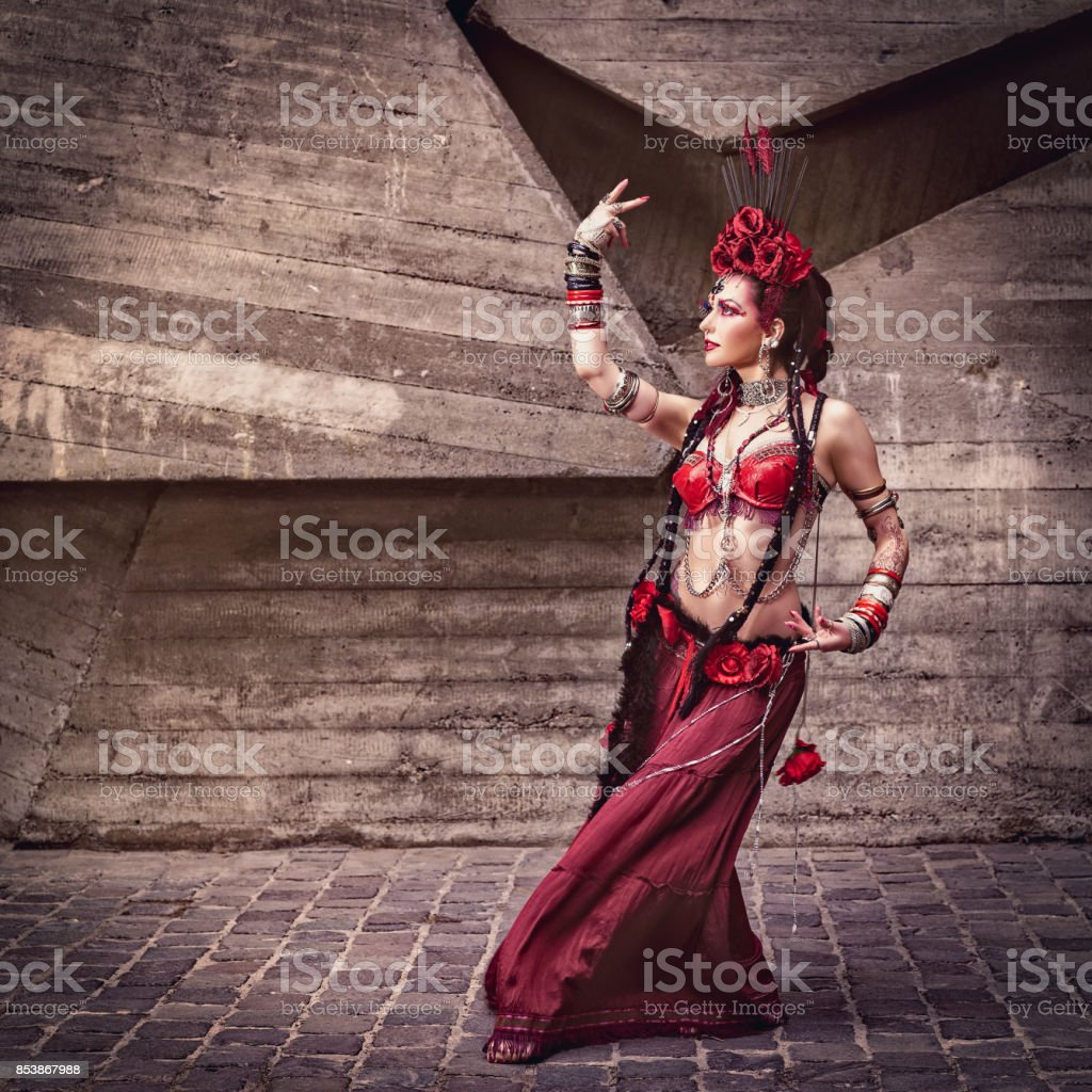 Tribal dancer moving and dancing outdoors stock photo