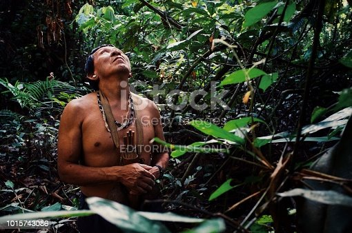 Atalaia du Norde, Amazonia / Brazil - FEB 02 2016:Tribal elder Binan Tukum hunting with his son for monkeys in the rainforest