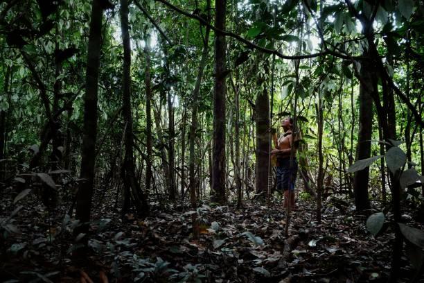 stammes-elder binan tukums jagd mit seinem sohn für affen im regenwald - affentattoos stock-fotos und bilder