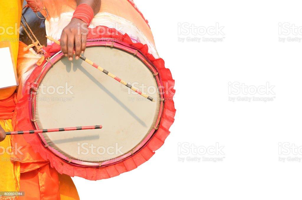 Tribal musician playing music stock photo