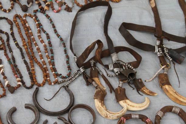 Tribal Necklaces in Ethiopia stock photo