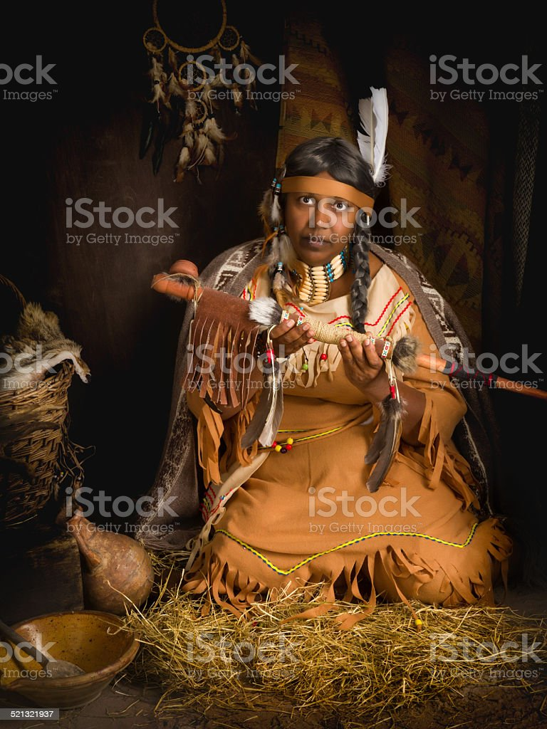 Tribal peace pipe stock photo