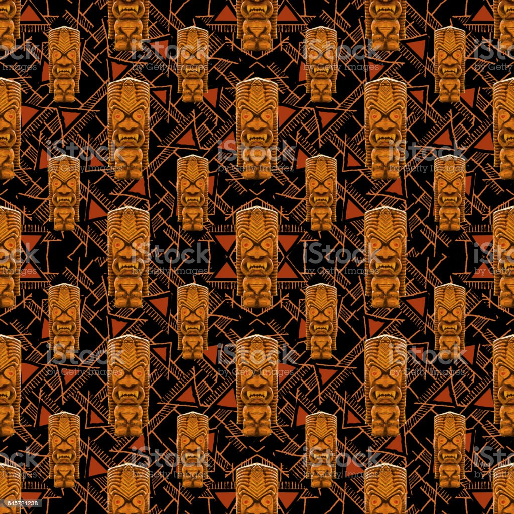 Tribal Totem Seamless Pattern stock photo