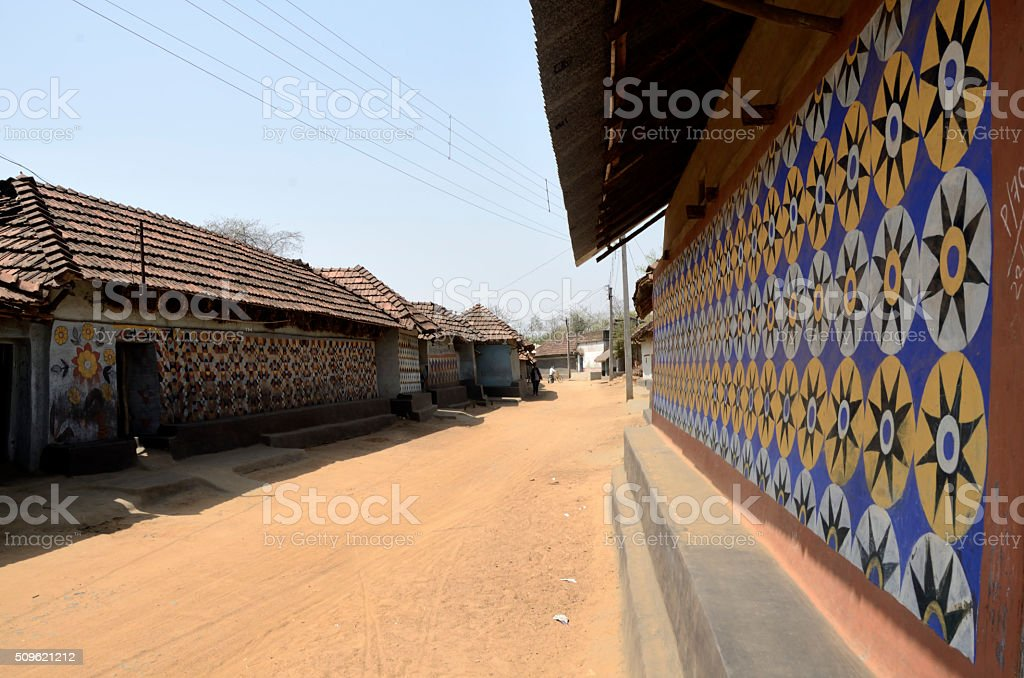 Tribal Village Mud Wall Painting In India Stock Photo