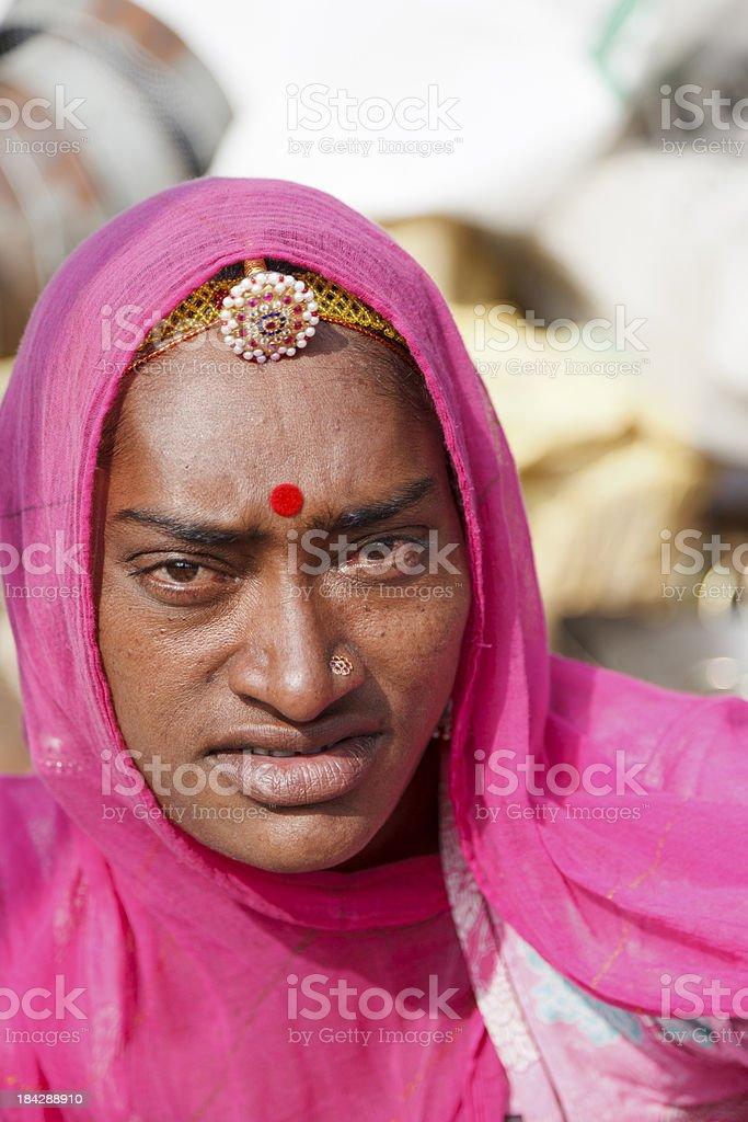 Tribal woman in pink sari Pushkar Rajasthan India stock photo