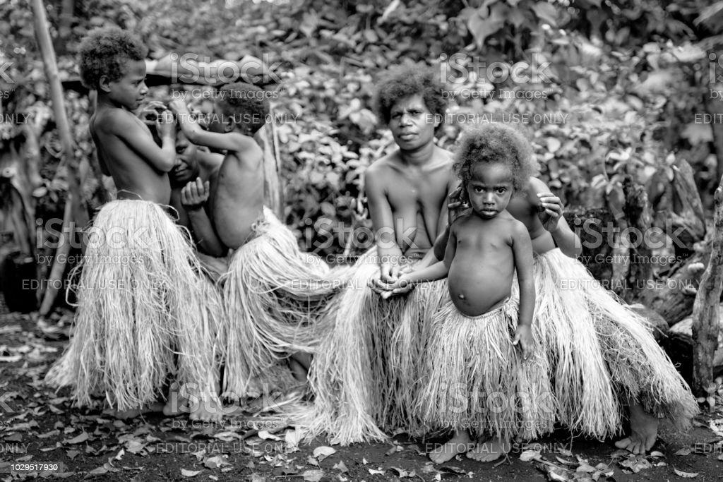 Tribe Community Indigenous Women and Children Tanna Island Rainforest Vanuatu stock photo