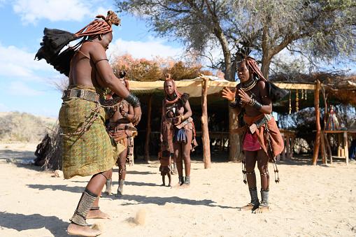 Himba Mother With Children Kunene Epupa Namibia Africa