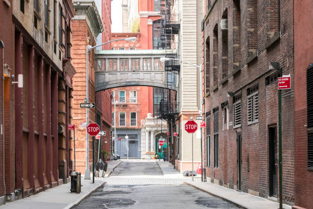 Tribeca neighborhood of Manhattan, New York City NYC Buildings at the intersection of Staple Street and Jay Street in the historic Tribeca neighborhood of Manhattan, New York City NYC alley stock pictures, royalty-free photos & images