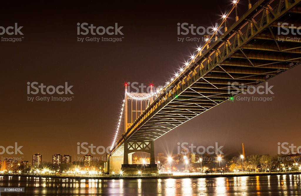 Triboro bridge at night stock photo