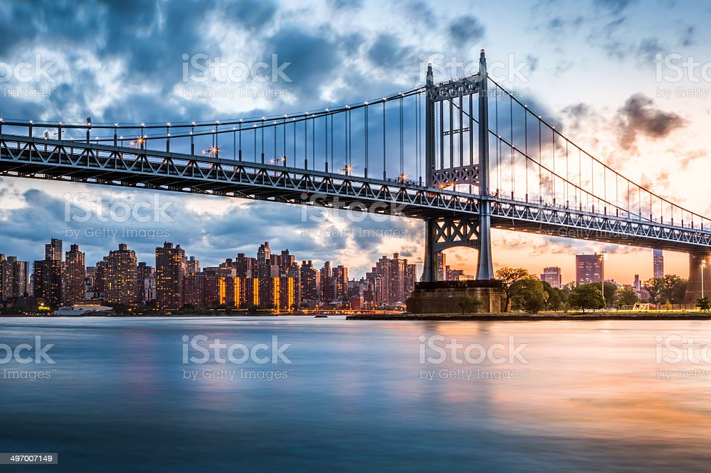 Triboro Bridge at sunset stock photo