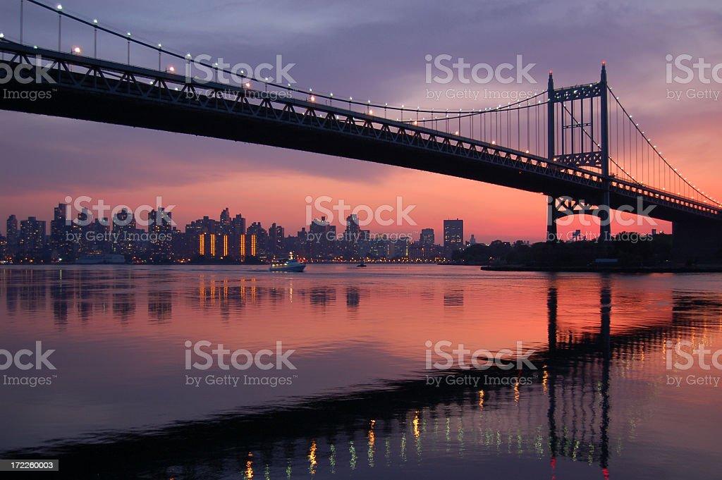 Triboro bridge silhouette at sunset royalty-free stock photo