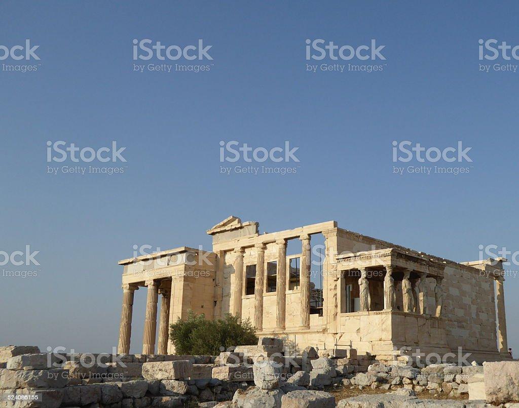 Tribuna De Las Cariatides En El Erecteion Acropolis Grecia Stock