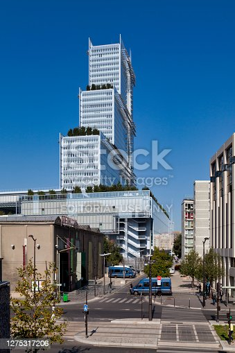 Paris, France - September 21 2020: The Tribunal de Paris is a courthouse located Porte de Clichy (Batignolles district) in the 17th arrondissement of Paris. It has been the seat of the Paris judicial court (formerly the tribunal de grande instance) since 2018; this jurisdiction was previously installed at the courthouse on Île de la Cité and in various ancillary locations.
